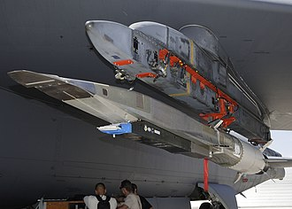 Boeing X-51 Waverider - X-51A under the wing of a B-52 at Edwards Air Force Base, July 2009