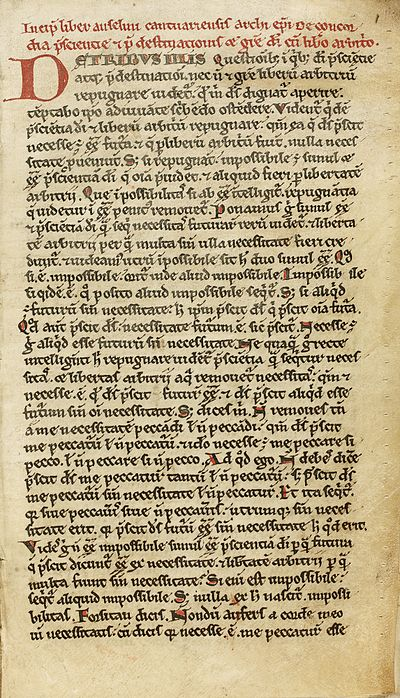 The first page of a 12th-century manuscript of the De Concordia XII c. French manuscript of Anselm's 'De Concordia' (2).jpg