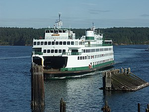 Super-class ferry - Super class vessel Yakima on approach to Orcas Island