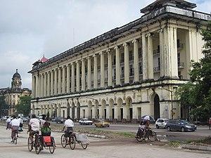 Downtown Yangon - The Yangon Region Court building on Strand Road.