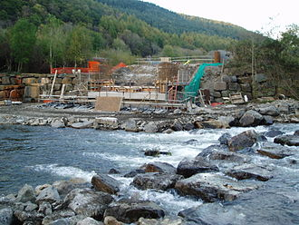 Neath and Tennant Canal - Construction of the west pier to support the new Ynysbwllog aqueduct