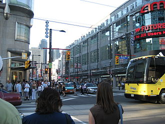 Dundas Street - Looking north at the corner of Yonge and Dundas, near Yonge-Dundas Square