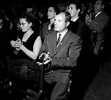 Gagarin and his wife Valentina clapping at a concert in Moscow in 1964.