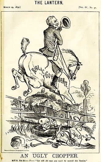 "Henry Bartle Frere - Pro-imperialist cartoon showing Sir Bartle Frere vanquishing the ""negrophilist"" liberals of the Cape government, represented by MP Saul Solomon."