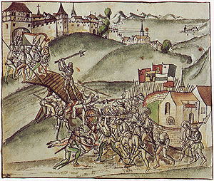 Old Zürich War - The mayor of Zurich, Rudolf Stüssi, defends the bridge of St. Jakob, near Zurich, against the forces of the Old Swiss Confederacy during the Battle of St. Jakob an der Sihl (1443). Illustration from the chronicle of Wernher Schodeler, c 1515.
