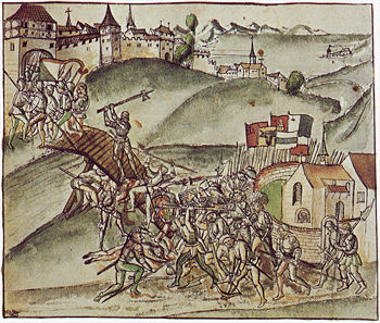 Mayor Rudolf Stüssi from Zurich defends the Sihl Bridge at St. Jakob alone, according to the chronicle of the Old Zurich War by Werner Schodoler (1514)