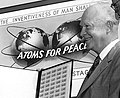 """ATOMS FOR PEACE"" 3 cent stamp art detail with President Eisenhower in 1955 and quotation of ""THE... INVENTIVENESS OF MAN SHALL"" from- HD.3C.032 (10692189783) (cropped).jpg"