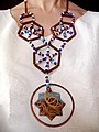 """Concept Necklace ІІ"" by Lyudmyla Mysko (Ukraine) 2006, copper, enamel, beads.jpg"
