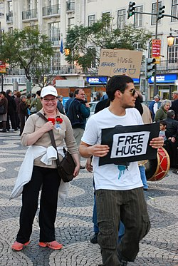 'FREE HUGS' in Baixa, Lisbon, Portugal.jpg