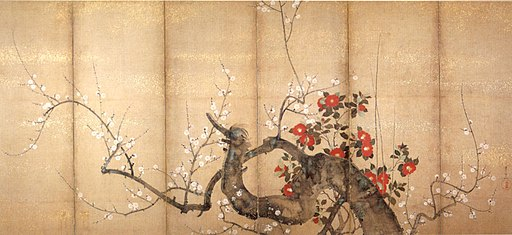 'Flowering Plum and Camellia', six-fold screen by Suzuki Kiitsu, c. 1850s, ink and color on paper, Japanese, Honolulu Academy of Arts