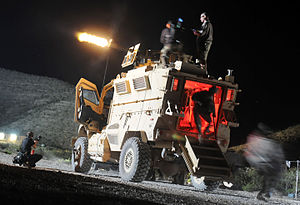 Fort Bliss (film) - During a late night on set, production crews from the motion picture Fort Bliss film a scene with Michelle Monaghan and Soldiers assigned to Troop B, 2nd Squadron, 13th Cavalry Regiment, 4th Brigade Combat Team, 1st Armored Division,