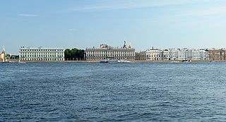 Palace Embankment thoroughfare in Saint Petersburg, Russia