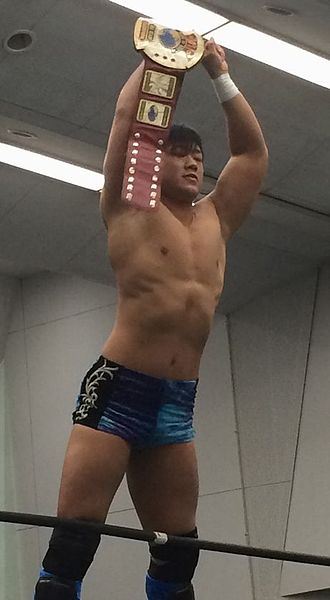 KO-D Tag Team Championship - Tetsuya Endo holding one of the KO-D Tag Team Championship belts in January 2015