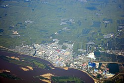 Aerial view of Suibin County and the Sungari River, looking north. The county seat is just north of the river