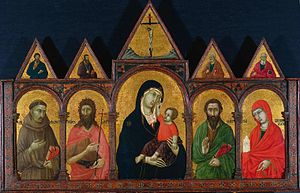 1..Ugolino da Siena Virgin and Child with Saints early 1320s Cleveland МОА.jpg