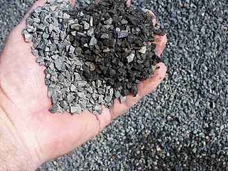 "Construction aggregate - 10 mm graded crushed basalt rock or aggregate, for use in concrete, called ""blue metal"" in Australia."