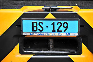 Vehicle registration plates of Switzerland - Utility vehicle front (Basel Stadt)