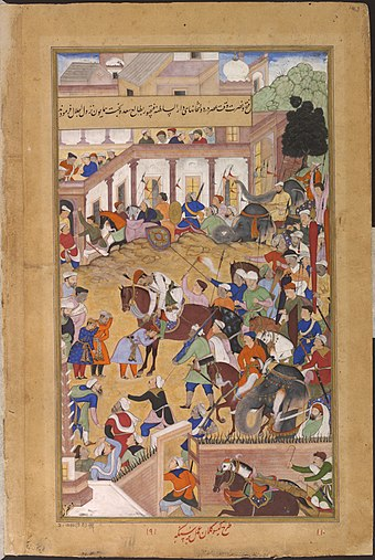 The Mughal Emperor Akbar welcomes his son Prince Salim at Fatehpur Sikri, (Akbarnameh). 1573-Akbar receiving his sons at Fathpur-Akbarnama.jpg