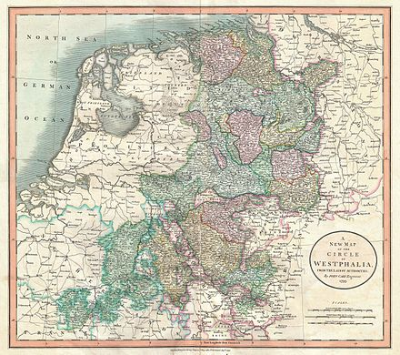 Map of the Lower Rhenish–Westphalian Circle in 1799 by John Cary 1801 Cary Map of Westphalia, Germany - Geographicus - Westphalia-cary-1799.jpg