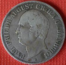 Talermünze aus 1846 mit Konterfei Paul Friedrich August (Quelle: Wikimedia)