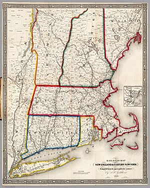 1850 Atlantic hurricane season - 1849 railroad map of New England—click to enlarge