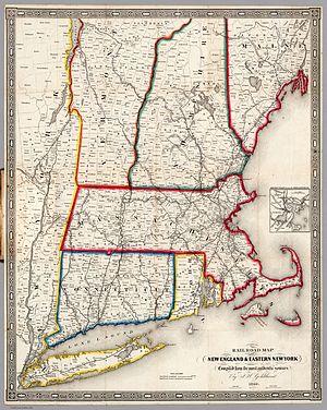 1850 Atlantic hurricane season - 1849 railroad map of New England—click to enlarge