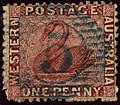 1864ca 1d Western Australia numeral 5 Yv14 SG50.jpg