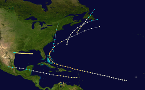 1866 Atlantic hurricane season - Image: 1866 Atlantic hurricane season summary map