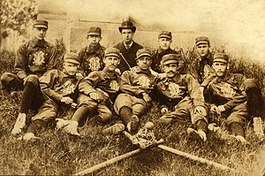 Weldy Walker - 1883 Michigan baseball team, Weldy Walker in the center of the front row
