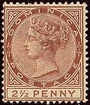 1884 2half red-brown Dominica unused Yv20 SG15.jpg