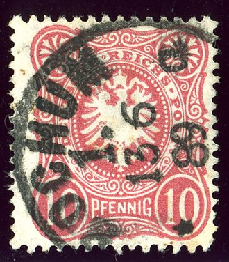 Bochum - Stamp cancelled at BOCHUM 1 in 1889. Bochum post-office was in the Westphalia province of Prussia before 1868