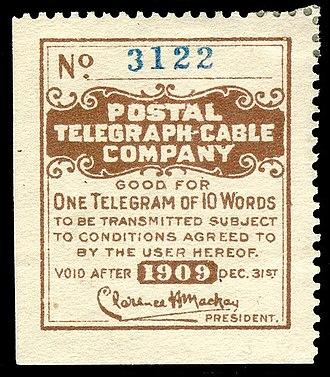 Postal Telegraph Company - Image: 1909 Postal Telegraph Cable Company stamp