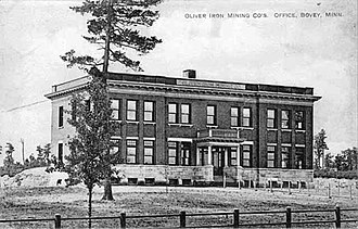 National Register of Historic Places listings in Itasca County, Minnesota - Image: 1910postcard Oliver Iron Mining Co Office Bovey MN
