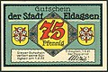 1921-06-01 Gutschein der Stadt Eldagsen, 0,75 Mark 75 Pfennig, gültig bis 1. Februar 1922, a, faksimilierte Unterschrift der Magistrat.jpg