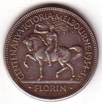 Florin (Australian coin) - Image: 1934 35 Australian florin reverse