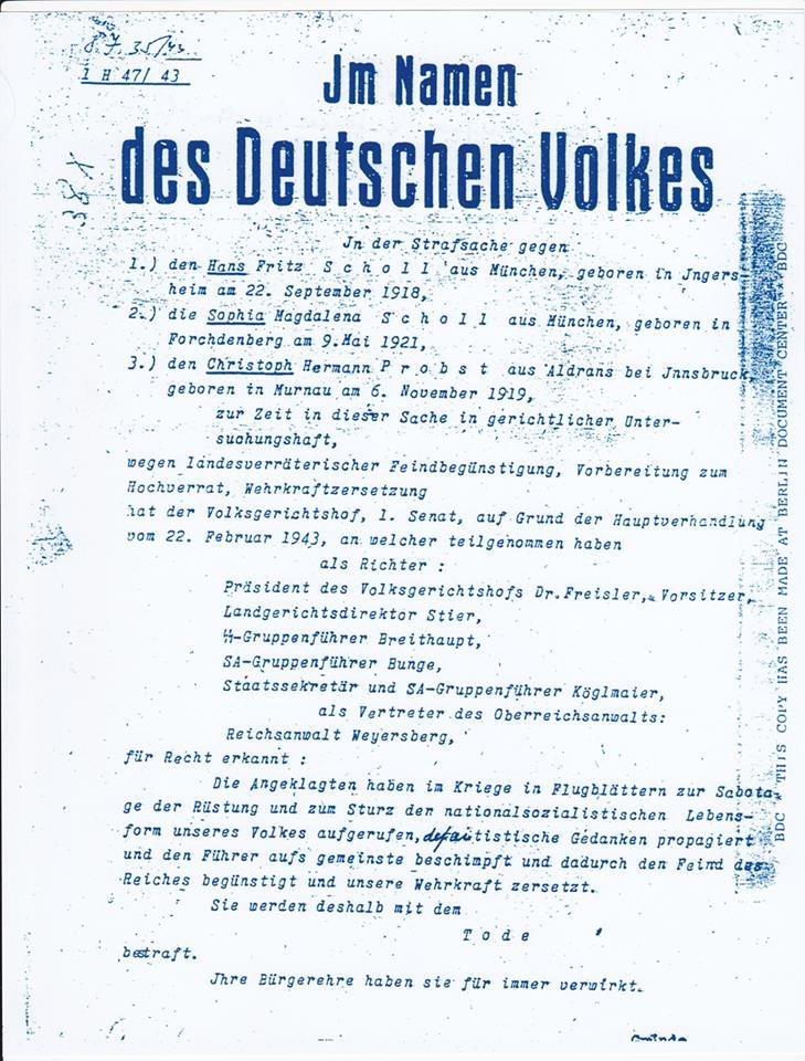 1943 German High Court decree ( death sentence ) against Hans Fritz Scholl Sophia Magalena Scholl and Christoph Herman Probst
