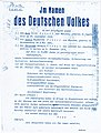 1943 German High Court decree ( death sentence ) against Hans Fritz Scholl Sophia Magalena Scholl and Christoph Herman Probst.jpg