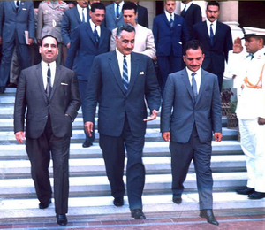 1964 Arab League summit (Alexandria) - Arab heads of state arriving in Alexandria. Front row, left to right: Abdul Salam Arif of Iraq, Gamal Abdel Nasser of Egypt, Hussein of Jordan. Behind them left to right: Abdel Hakim Amer of the Egyptian Army and Ahmed Ben Bella of Algeria