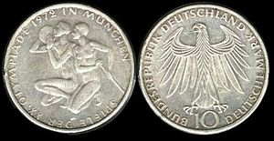 1972 Summer Olympics - Munich Olympics commemorative 10-mark coin, 1972