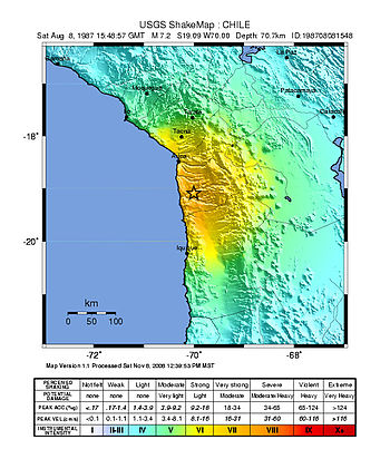 Español: Mapa sísmico del terremoto del 6 de j...