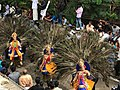 1st day procession with costumed Kartikeya deity riding peacock at the Hindu festival Onam in Kerala 2.jpg