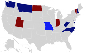 United States gubernatorial elections, 2008 - Image: 2008 Gubernatorial election results (fixed)