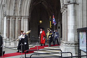 Lord Mayor's Show - Lord Mayor David Wootton and some of his entourage emerging from the Royal Courts of Justice, at the end of half-time during the 2011 Lord Mayor's Show