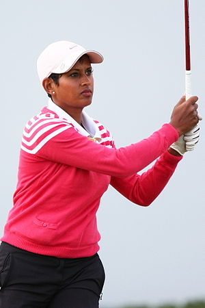 Naga Munchetty - Munchetty in the pro-am round of the 2013 Women's British Open golf championships