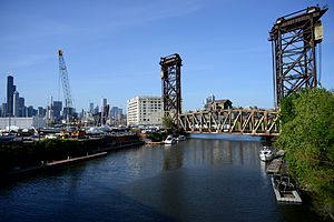 Canal Street railroad bridge - Southbound Amtrak train crossing the South Branch Chicago River