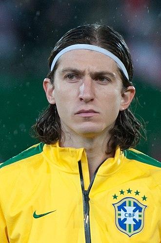 Filipe Luís - Filipe Luís lining up for Brazil in 2014