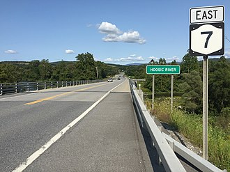 New York State Route 7 - View east along NY 7 at NY 22, just before crossing the Hoosic River in Hoosick, Rensselaer County