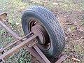2018-01-28 (126) Old Semperit 6.50 R 16 tire on trailer near Groß-Brandgraben in Kirchberg an der Pielach.jpg
