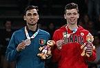 2018-10-11 Victory ceremony (Taekwondo Boys +73kg) at 2018 Summer Youth Olympics by Sandro Halank–018.jpg