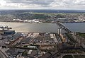 2018 LCY, aerial view of Silvertown & Thames Barrier.jpg